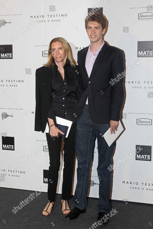 Vogue Magazine Editor Tonne Goodman (l) and an Her Companion Pose As They Attend the Launch of Peruvian Photographer Mario Testino's Exhibition 'Todo O Nada' (everything Or Nothing) in Lima Peru 12 July 2012 Exhibition Shows 54 Testino's Works Amongst of Them Several Portraits of Kate Moss Gisele Bundchen Demi Moore Gwyneth Paltrow and Kate Winslet Peru Lima