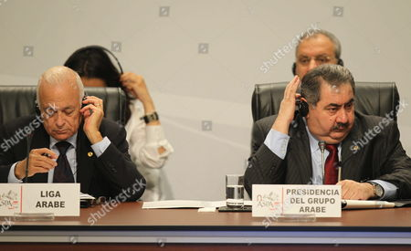 General Secretary of Arab League Nabil Al Araby (l) and President of Arab Group Hoshyar Zebari (r) During the Foreign Ministers of South America and Arab Countries Meeting in Lima Peru 01 October 2012 Peru Lima