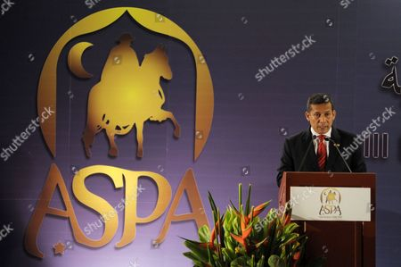 Peruvian President Ollanta Humala Speaks During the Inauguration of Iii Business Forum of South America and Arab Countries in Lima Peru 01 October 2012 Humala Inaugurated the Event with General Secretary of Arab League Nabil Al-araby (not Seen) Peru Lima