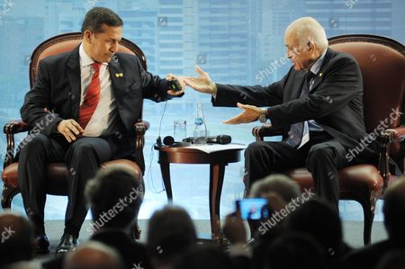 Peruvian President Ollanta Humala (l) Talks to General Secretary of Arab League Nabil Al-araby (r) During the Inauguration of Iii Business Forum of South America and Arab Countries in Lima Peru 01 October 2012 Peru Lima
