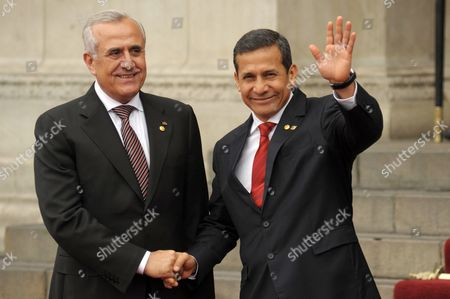Lebanon President Michel Sleiman (l) is Welcomed by His Peruvian Counterpart Ollanta Humala (r) at Government Palace in Lima Peru 01 October 2012 Sleiman Meets Humala Before Attending on 02 October the Iii Summit of South American and Arab Countries (aspa) Peru Lima