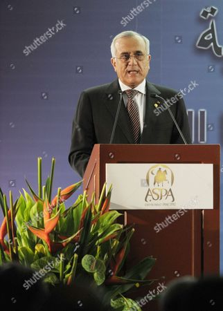 Lebanese President Michel Suleiman Speaks During the Inauguration of Iii Business Forum of South America and Arab Countries in Lima Peru 01 October 2012 Peruvian President Ollanta Humala (not Seen) Inaugurated the Event with General Secretary of Arab League Nabil Al-araby (not Seen) Peru Lima