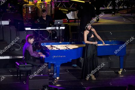 U S Pianist Arthur Hanlon (l) and Spanish Singer Natalia Jimenez Perform During Hanlon's Concert and Tv Special 'Encantos Del Caribe (caribbean Delights) where He Shared the Stage with Other Artists at San Cristobal Fort in the Old San Juan Puerto Rico on 03 November 2011 Puerto Rico San Juan