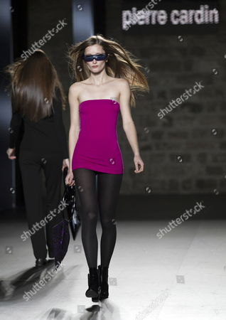 Dutch Model Iekeliene Stange Presents a Creation by French Designer Pierre Cardin on the Last Day of the 9th '080 Barcelona Fashion' Week in Barcelona Spain 28 January 2012 Spain Barcelona