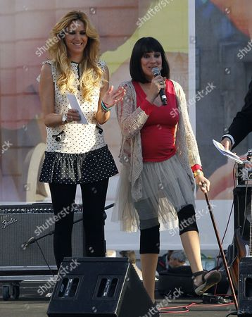 Stock Picture of Spanish Journalist and Eta Victim Irene Villa (r) who is Currently Pregnant Speaks in Front of Spanish Tv Hostess Alejandra Prat (l) During an Anti-abortion Rally at the Puerta Del Sol Square in Madrid Central Spain on 24 March 2012 the Demonstrators Called For the Right to Life 'From Conception to Its Natural End' Spain Madrid