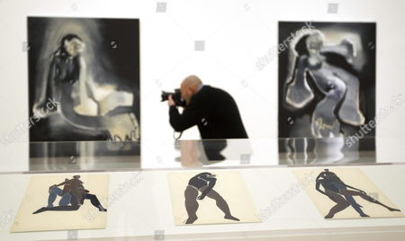 A Photographer Takes Pictures of Artworks by Us Artist Richard Prince on Display in the Exhibition 'Prince/picasso' at the Picasso Museum in Malaga Spain 27 February 2012 the Exhibition of Previously Unseen Works by Us Artist Richard Prince is Held at the Museum From 27 February Until 27 May Spain Malaga
