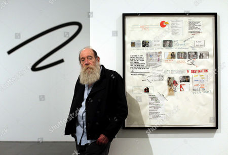 Stock Photo of Us Conceptual Artist Lawrence Weiner Poses For Photographers During the Presentation of an Exhibition Dedicated to His Drawings Entitled 'Written on the Wind ' at the Barcelona Contemporary Art Museum (macba) in Barcelona Spain 07 March 2013 the Exhibition Will Open to the Public From 08 March to 24 June Spain Barcelona