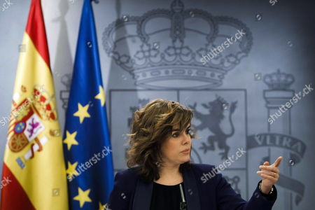 Spanish Deputy Prime Minister Soraya Saenz De Santamaria Attends a Press Conference Held After a Cabinet Meeting at La Moncloa Palace in Madrid Central Spain 24 February 2012 Reports State That Soraya Saenz De Santa Maria Announced an Order For Municipal Councils to Tell the Government by 15 March 2012 How Much They Owe to Municipal Suppliers As the New Administration Wants to Settle Billions of Euros in Debt That the City Councils Owe to Local Businesses Spain Madrid