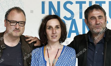 French Director Frederic Fonteyne (l-r) Actress/screenwriter Anne Paulicevich and Spanish Actor Sergi Lopez Pose During the Presentation of Their Movie 'Tango Libre' in Madrid Spain 26 April 2013 the Movie Opens in Spanish Theatres on 01 May Spain Madrid