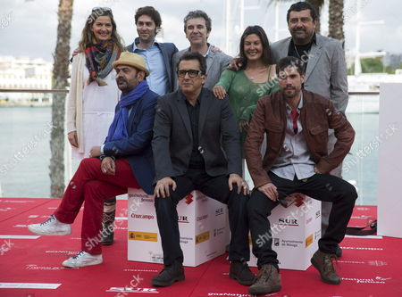 Cast Members of the Movie 'Somos Gente Honrada' (top L-r) Emma Lustres Filmmaker Alejandro Marzoa Miguel De Lira Marisol Membrillo and Paco Tous and (bottom L-r) Jose Corbacho Andreu Buenafuente and Unax Ugalde Pose For the Media at Malaga's Spanish Film Festival in Malaga Southern Spain 23 April 2013 the Movie Competes at Official Section of Festival Which Runs From 20 Until 27 April Spain Malaga