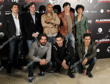 Stock Picture of Spanish Actors/cast Members (l-r Back Row) Javier Bardem Producer Alvaro Longoria Director Santiago Zanou Carlos Bardem and Judith Diakhate; (l-r Front Row) Hovik Keuchkerian Miguel Angel Silvestre and Alex Gonzalez Pose During the Photocall of the Film 'Alacran Enamorado' (scorpion in Love) in Madrid Spain 09 April 2013 the Movie Will Be Released on the Spanish Theatres on 12 April Spain Madrid