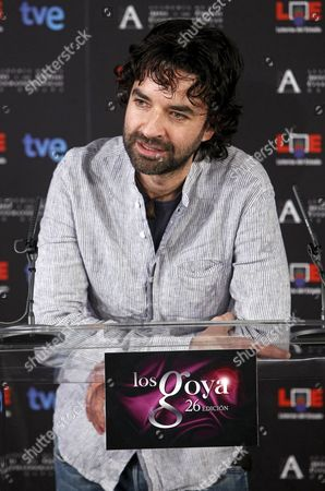 Stock Photo of Spanish Director Mateo Gil who was Nominated in the Cathegories Best Director and Best Film For His Movie 'Blackthorn' Delivers a Speech During the Announcement the Nominees of the Spanish Film Academy's Goya Awards in Madrid Spain 10 January 2012 the Cremony of the 26th Goya Awards Will Be Held on 19 February 2012 Spain Madrid