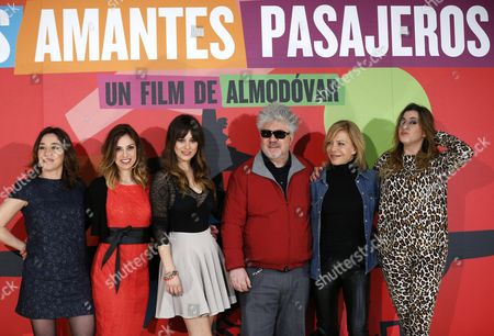 Stock Picture of Spanish Filmmaker Pedro Almodovar (3-r) Poses For the Media with (l-r) Actresses Lola Duenas Laya Marti Blanca Suarez Cecilia Roth and Pepa Charro During the Presentation of His Movie 'Los Amantes Pasajeros' (i'm So Excited) in Madrid Spain 06 March 2013 the Movie Also Known Under the Title 'The Brief Lovers' Will Premiere in the Director's Hometown of Calzada De Calatrava Castile La Mancha on 08 March Spain Madrid