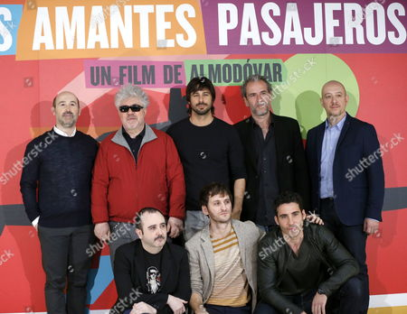 Spanish Filmmaker Pedro Almodovar (2-l Top) Poses For the Media Next to Actors (l-r Top) Javier Camara Hugo Silva Willy Toledo Jose Luis Torrijo (l-r Bottom) Carlos Areces Raul Arevalo and Miguel Angel Silvestre During the Presentation of His Film 'I'm So Excited!' in Madrid Spain 06 March 2013 the Movie Will Premiere on 08 March in His Hometown Calzada De Calatrava in Castile La Mancha Spain Madrid