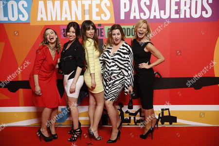 Spanish Actresses (l-r) Laya Marti Lola Dueñas Blanca Suarez Pepa Charro and Cecilia Roth As They Arrive at Pedro Almodovar Last Film 'Los Amantes Pasajeros' ('i'm So Excited!') Party in Madrid Spain 07 March 2013 Spain Madrid