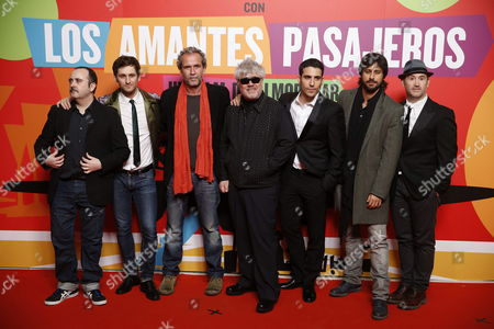 Spanish Film Director Pedro Almodovar (c) and Spanish Actors (l-r) Carlos Areces Raúl Arévalo Willy Toledo Miguel Ángel Silvestre Hugo Silva and Javier Cámara As They Arrive at Almodovar´s Last Film 'Los Amantes Pasajeros' ('i'm So Excited!') Party in Madrid Spain 07 March 2013 Spain Madrid