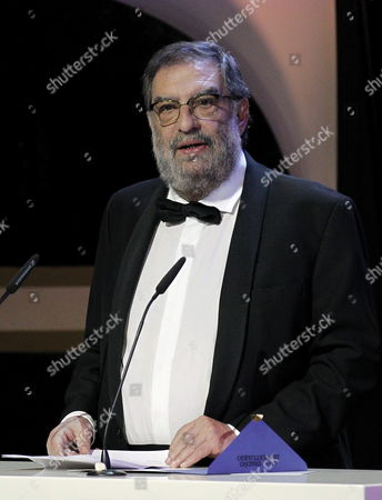 The President of Spanish Cinema Academy Enrique Gonzalez Macho Delivers a Speech During the 27th Goya Awards Awarding Ceremony at the Prince Felipe Conference Hall in Madrid Central Spain on 17 February 2013 Spain Ballesteros