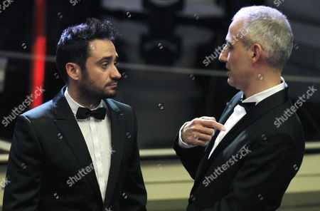 Spanish Film-maker Juan Antonio Bayona (l) Director of the Film 'The Impossible' Chats with Pablo Berger Director of 'Blancanieves' Upon Their Arrival to the 27th Goya Awards Awarding Ceremony at the Prince Felipe Conference Hall in Madrid Central Spain on 17 February 2013 Bayona and Berger Compete For the Goya to the Best Director Spain Madrid