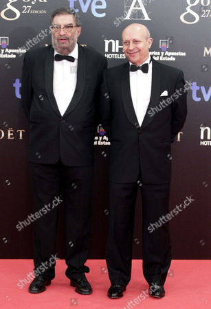 Spanish Culture Minister Jose Ignacio Wert (r) and the President of Spanish Cinema Academy Enrique Gonzalez Macho Pose Upon Their Arrival to the 27th Goya Awards Awarding Ceremony at the Prince Felipe Conference Hall in Madrid Central Spain on 17 February 2013 Spain Ballesteros
