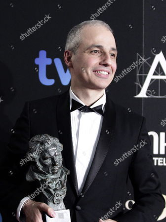 Spanish Film Director Pablo Berger Poses After Receiving the Goya in the Category of the Best Film For His Work in 'Blancanieves' During the 27th Goya Awards Ceremony at the Prince Felipe Conference Hall in Madrid Central Spain 17 February 2013 Spain Madrid