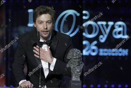 Spanish Actor Jan Cornet Receives the Best Upcoming Actor Award For His Role in 'La Piel Que Habito' (the Skin i Live In) During the 26th Annual Spanish Cinema Goya Awards Held at the Congress City Hall in Madrid Spain 19 February 2012 Spain Madrid