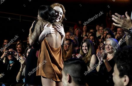 Spanish Actress Macarena Garcia (front) Embraces Canadian Katie Coseni (l) Before Receiving Both the Concha De Plata Trophy For the Best Actress During the Closing Ceremony of the 60th Edition of San Sebastian International Film Festival in San Sebastian Northern Spain 29 September 2012 Spain San Sebastian