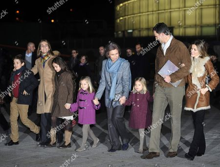 Spanish Queen's Grandson Juan Froilan (l-r) Princess Elena the Queen's Granddaughters Victoria Federica and Leonor Queen Sofia of Spain Her Granddaughter Sofia Spanish Crown Prince Felipe and Princess Letizia Leave the Cirque Du Soleil in Madrid Spain 23 December 2011 After Watching the Show 'Zarkana' Spain Madrid