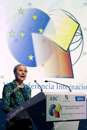 Austrian Benita Ferrero- Waldner President of the European Union Latin America and Caribbean Foundation Delivers a Speech During the International Conference About Europe and America in Madrid Spain on 23 April 2012 Chairman and Ceo of Spanish Bank Bbva Francisco Gonzalez and Vice-president of the European Commission and Commissioner Responsible For Competition Joaquin Almunia Among Others Participated in the Event Spain Madrid
