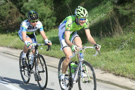 Italian Cyclist Christiano Salerno (r) of Liquigas-cannondale Team and Canadian Cyclist Christian Meier (l) of Orica-green Team in Action During the Breakaway in the First Stage of Volta Catalonia Cycling Race 159 3 Km in Balella Barcelona Northeastern Spain 18 March 2013 Spain Calella