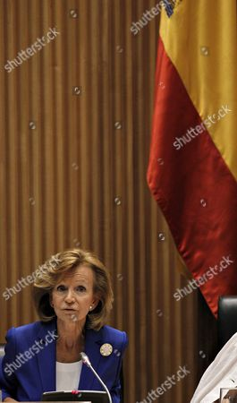 Stock Image of Former Spanish Economy Minister Elena Salgado Speaks During Her Appearance Before a Congress Commission in Madrid Spain 26 July 2012 Salgado was Called to Appear in a Parliamentary Commission to Be Heard About the Bankia Financial Restructuring Spain Madrid