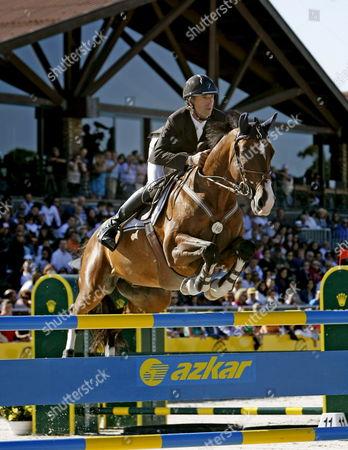 Us Rider Richard Spooner on 'Cristalo' in Action During the Casas Novas International Equestrian Event in Arteixo Near Corunna Northwestern Spain 29 July 2012 Spain Arteixo