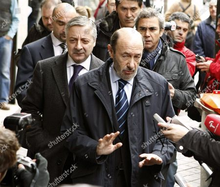 Spanish Member of Parliament and Leader of Spanish Socialist Party (psoe) Alfredo Perez Rubalcaba (r) and Former Spanish Socialist Party (psoe) Minister For Public Works and Government Spokesman Jose Blanco (l) Arrive at the Funeral Chapel of Spain's Popular Party's Founding President Manuel Fraga Before His Body is Transferred to Coruna where He Will Be Buried in Madrid Spain 16 January 2012 Spain's Prime Minister Mariano Rajoy on Monday Described the Late Manuel Fraga - a Former Minister Under 1939-75 Dictator Francisco Franco and a Key Figure During Spains Transition to Democracy - As One of the Greatest Politicians of the 20th Century Yet Fraga who Died at the Age of 89 Years Late Sunday was Also a Controversial Figure Over His Links with the Dictatorship His Authoritarianism and His Temper Fraga was a Natural Politician Whose Life Spanned Six Decades of Spanish Political Life Starting with the Dictatorship Through the Transition to Modern Times 'Good Bullfighters Die in the Bullring ' Said Fraga who Remained Active in Politics Until Just a Few Months Before His Death Spain Madrid