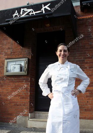 Spanish Chef Elena Arzak Poses in Front of Her Restaurant in San Sebastian City Northern Spain on 10 April 2012 After Learning That She Has Been Awarded the the Veuve Clicquot Worlds Best Female Chef Award at the Worlds 50 Best Restaurants Awards For the Best World's Female Chef Elena is a Member of the Fourth Generation of the Arzak Family to Head the Restaurant Since It Opened in 1897 the Restaurant Has Consistently Ranked Within the Top 10 of the Worlds 50 Best Restaurants List During the Last Five Years and Has Been the First Basque Restaurant to Be Awarded Three Michelin Stars Spain San Sebastian