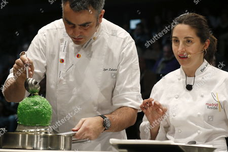 Spanish Chef Elena Arzak (r) Attends the International Gastronomy Summit 'Madrid Fusion' at Ifema Exhibition Site in Madrid Spain 22 January 2013 the Event Takes Place From 21 to 23 January 2013 More Than 100 Chefs Will Be Able to Interact with Visitors with 30 Unseen Demonstrations 40 New Products and 18 Workshops Spain Madrid
