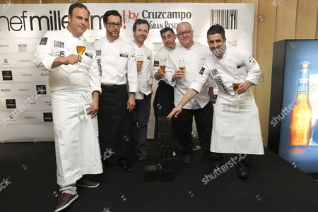 Spanish Chefs (l-r) Angel Leon Quique Dacosta Nacho Manzano Jordi Roca Ricardo Sanz and Gorka Taxapartegi Pose For a Picture During the 4th Edition of Chef Millesime Awards Ceremony in Madrid Spain 20 May 2013 the Awarded Chefs Have Been Selected For Their Outstanding Careers Their Contribution to the National Restaurant Industry and Their International Influence Spain Madrid