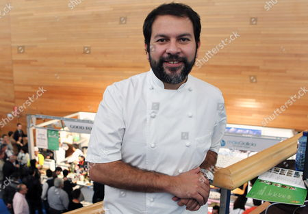 Stock Picture of Mexican Chef Enrique Olvera Poses For Photographers As He Takes Part in the Second Day of the San Sebastian Gastronomika Gastronomic Summit at Kursaal Exhibition Center in San Sebastian City Basque Country Northern Spain 22 November 2011 the 2011 Edition of the Summit is Focused on the Mexican Cousine the Summit Runs 20-23 November 2011 Spain San Sebastian