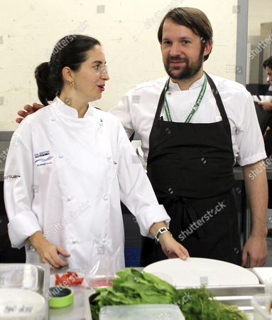 Danish Chef and Co-owner of the Restaurant Noma Rene Redzepi (r) Chats with Spanish Chef Elena Arzak (l) During the Gastronomika San Sebastian Cousine Congress Held in San Sebastian Basque Country Spain on 10 October 2012 the Congress Runs From 07 October to 10 October 2012 Spain San Sebastian