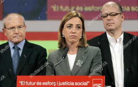 Catalonian Socialist Party Psc Candidate and Socialist Defense Minister Carme Chacon (c) Gives a Press Conference at Psc's Headquartes in Barcelona North-western Spain After the Closing of the Polling Stations During Spanish General Elections on 20 November 2011 at Left is Former Catalonia's Regional President Jose Montilla and at Right is Psc's Candidate For Spanish Parliament Lower House Jose Zaragoza Conservative Popular Party (pp) Won the Elections with Absolute Majority According to Official Partial Recounts Spain Barcelona