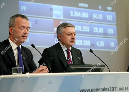 Spanish Socialist Party (psoe) Minister For Public Works and Spanish Governmetn Spokesman Jose Blanco (r) and Interior Minister Antonio Camacho Give a Press Conference at Their Party's Headquartes at Ferraz Street in Madrid Central Spain After the Closing of Polling Stations During Spanish General Elections on 20 November 2011 Psoe's Rival Popular Party (pp) Won the Elections with Absolute Majority According to Official Partial Recounts Spain Madrid