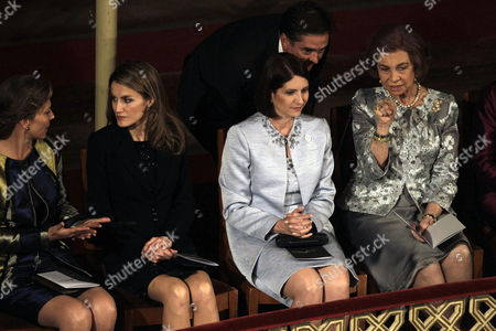 (r-l) Spain's Queen Sofia Panamanian First Lady Marta Linares Spain's Princess Letizia and Colombian First Lady Clemencia Rodriguez During the Opening of the 22nd Ibero-american Summit at Falla Theater in Cadiz Southern Spain 16 November 2012 a Total of 16 Latin American and Iberian Heads of State and Government Gathered in Cadiz to Attend the Ibero-american Summit From 16 to 17 November Spain Cadiz