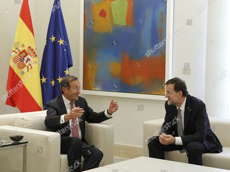 Spanish Prime Minister Mariano Rajoy (r) Chats with President of the Italian Chamber of Deputies Gianfranco Fini (l) During Their Meeting at La Moncloa Palace in Madrid Spain 11 June 2012 Spain Madrid