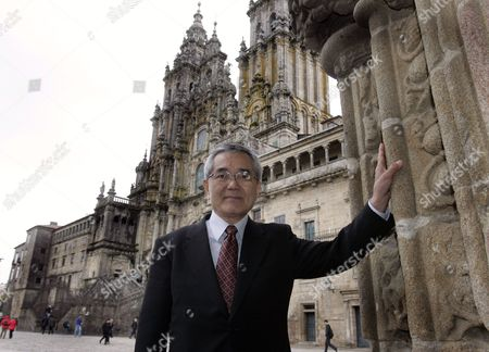 Stock Picture of Japanese Chemist and 2010 Nobel Prize in Chemistry Laureate Ei-ichi Negishi Poses For the Media at the Obradoiro's Square in Santiago Compostela Galicia Northwestern Spain 25 April 2012 where He Will Take Part in the Conscience Program Organizated by Compostela's University Spain Santiago De Compostela