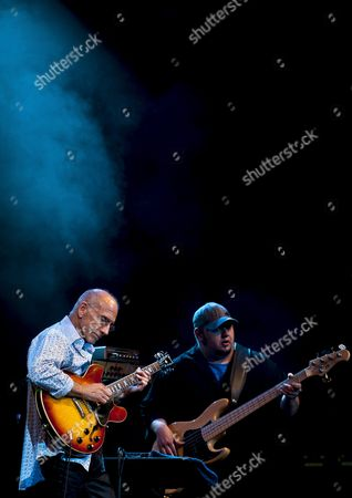 Us Guittarist Larry Carlton Together with Bassist Travis Carlton (r) Perform on Stage During Their Getxo´s Jazz International Festival Opening Day Concert in Vizcaya Northern Spain on 4 July 2012 Spain Getxo (vizcaya)