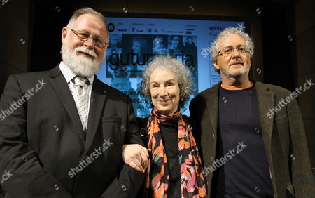 Canadian Writer Margaret Atwood (c) Next to Canadian-argentinian Writer Alberto Manguel (l) and Colombian Hector Abad Pose For Photographs During the Presentation of the Bilbao Literary International Festival Gutun Zuria in Bilbao Spain 11 April 2013 Spain Bilbao