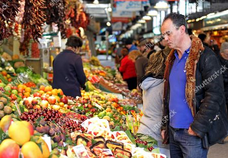 British Writer Jake Arnott Looks at a Stall at La Boqueria Market in Barcelona Spain 08 February 2012 After an Interview with Spanish News Agency Agencia Efe About His Latest Work 'Truecrime' Spain Barcelona