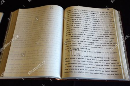 View of the Original Manuscript of the Novel 'Claraboya' (skylight) by Late Portuguese Writer Jose Saramago During the Book Presentation in Madrid Spain 01 March 2012 the Novel was Written by Saramago in 1953 when He was 31 Years Old He Sent the Manuscript to a Portuguese Publishing House About 60 Years Ago But Never Received an Answer Reports State However in 1989 when the Publishing House Moved to Another Building the Manuscript was Found Again Saramago by Then an Acclaimed Author Decided Against Publishing the Novel During His Lifetime But Gave the Rights of the Book - Eventually Published on 01 March 2012 - to His First Publisher and His Wife Pilar Del Rio Spain Madrid