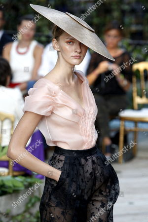 A Model Presents a Creation by Spanish Designer Josep Font For the Label Delpozo During the 56th Mercedes Benz Fashion Week in Madrid Spain 30 August 2012 the Presentation of the Spring Summer 2013 Collections in Madrid Takes Place From 30 August to 04 September Spain Madrid