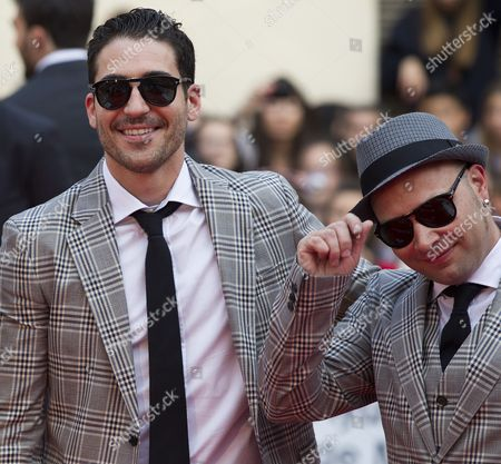 Stock Photo of Spanish Actors Miguel Angel Silvestre (l) and Oriol Vila Smile Upon Their Arrival to the Opening Gala of the Malaga Film Festival at the Cervantes Theater in Malaga City Southern Spain 21 April 2012 the Premiere of the Spanish Film 'The Pelayos' Opened the Eight-day Festival Silvestre and Vila Are Cast Members of the Spanish Film 'The Pelayos' Which Tells About the Real Life of the Pelayo Family Whose Patriarch Gonzalo Garcia Pelayo Had Developed a Mathematical Method to Break the Bank Legally in Casinos Worldwide Spain Malaga