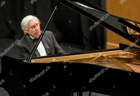 Stock Photo of Spanish Pianist Joaquin Achucarro Performs During a Tribute Ceremony Held on the Occasion of the 100 Anniversary of Spanish Conductor and Pianist Ataulfo Argenta's Birth at the International Festival in Santander Spain Late 20 August 2013 Spain Santander