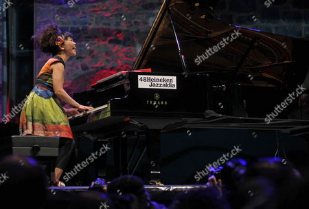 Japanese Jazz Pianist and Composer Hiromi Uehara Performs on Stage During Her Concert at 48th San Sebastian Jazz Festival Basque Country Spain 28 July 2013 Spain San Sebastián